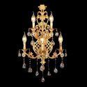Reizende Wandleuchte Kristall 5 flammig in Gold für Wohnzimmer