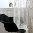 Moderne Gardine weiß mit 8-fömige Stickerei für Wohnzimmer