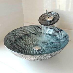 Modern Waschbencken Set Glas Rund mit Wasserfall Wasserhahn  D42cm