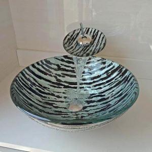 Waschbecken Set Glas Rund mit Wasserfall Wasserhahn Marmoreffekt