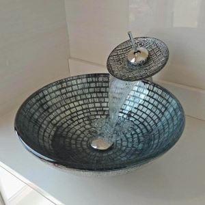 Waschbecken Set Rund aus Glas mit Wasserfall Wasserhahn  D42cm