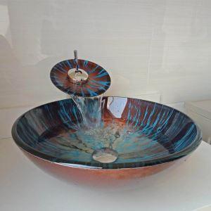 Glas Waschbecken Set Rund mit Wasserfall Wasserhahn Modern