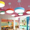 LED Runde Pendelleuchte aus Eisen und Acryl für Kinderzimmer