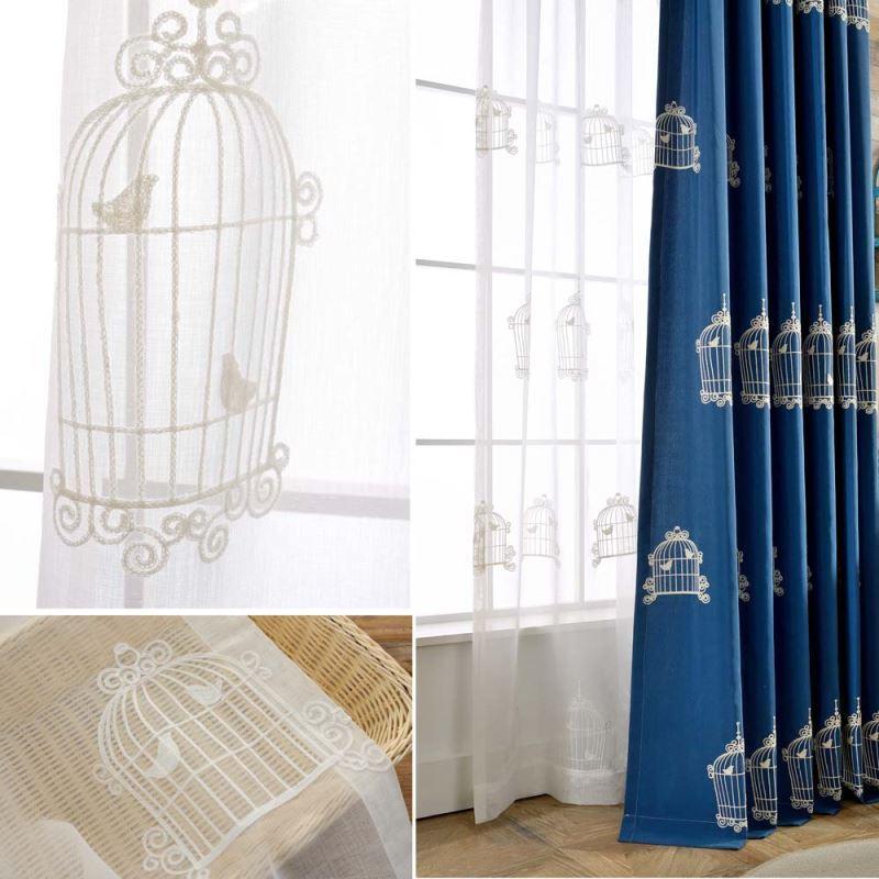 Moderne Gardinen mit Vogelkäfig Stickerei für Schlafzimmer