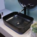 Waschbecken aus Keramik in Eckig Schwarz Aufsatzwaschbecken
