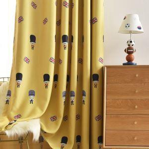 Britischer Stil Vorhang mit Soldaten Motiv Gelb für Kinderzimmer