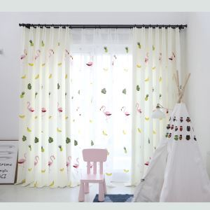 Minimalismus Vorhang mit Flamingo Motiv aus Polyester