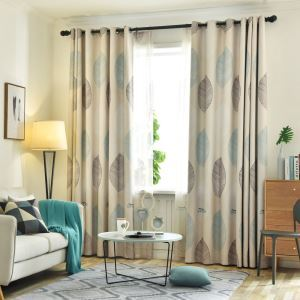 Moderner Vorhang mit Blätter Motiv blickdicht für Wohnzimmer