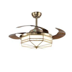 Deckenventilator mit Led Lampe Vintage Klappbare Flügeln mit Fernbedienung