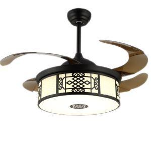Deckenventilator Vintage mit runder Led Leuchte Klappbare Flügel