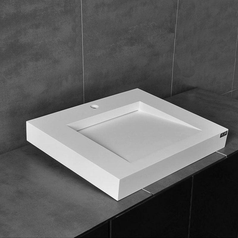 Waschbecken Modern Wandmontage Eckig Weiß ohne Wasserhahn