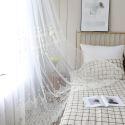 Moderne Gardinen mit gestickten Spitzen in weiß für Wohnzimmer