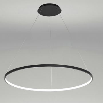 Led Pendelleuchte Modern Ring Design Schwarz im Wohnzimmer