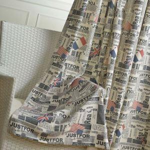 Moderner Vorhang mit Flag und Zeitung Motiv für Wohnzimmer