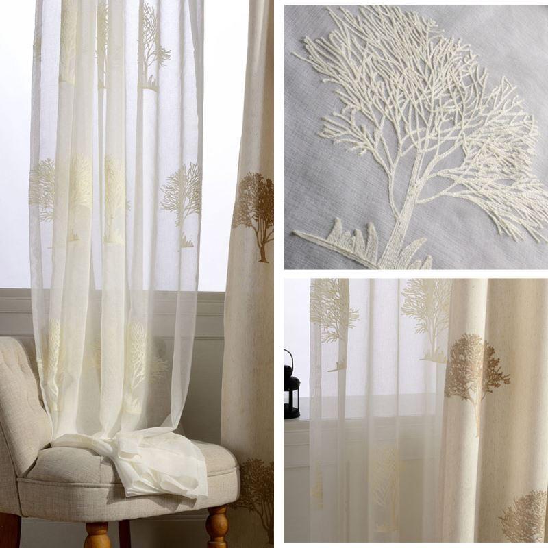 Moderne Gardinen mit Bäume Stickerei für Wohnzimmer