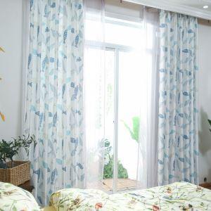 Vorhang mit Fischen Motiv Blau für Wohnzimmer