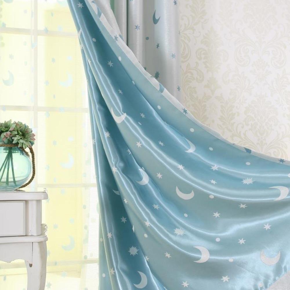 Moderner Vorhang Sterne und Mond Motiv für Kinderzimmer