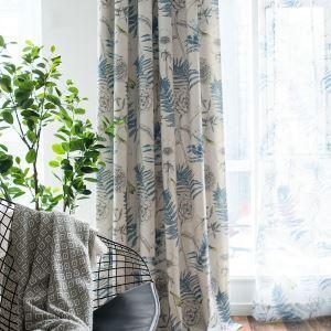 Landhaus Vorhang  Blätter Muster im Wohnzimmer