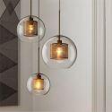 Glas Hängeleuchte Apart Kugel Design 1 flammig für Küche