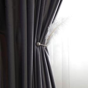 Eleganter Vorhang in Grau Imitiertes Samtgewebe Design