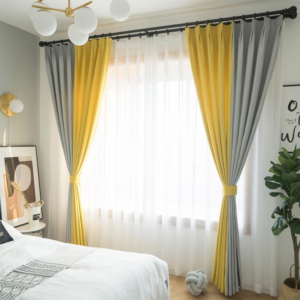 Moderner Vorhang Grau+ Gelb Design für Wohnzimmer