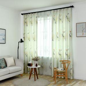 Moderner Vorhang mit Blumen und Vögel Muster aus Polyester