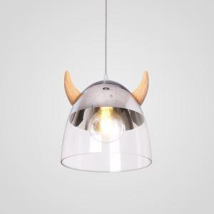 Pendelleuchte Stilvoll Horn Design aus Glas Holz für Esszimmer - Originell Design
