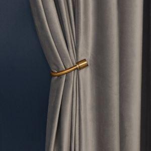 Eleganter vorhang Grau Imitiertes Samtgewebe Design