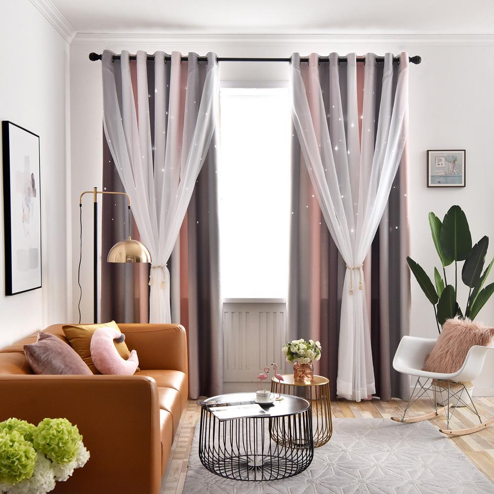 Kreativer Vorhang Mit Gardinen Hohlen Sterne Design Fur Schlafzimmer 1er Pack