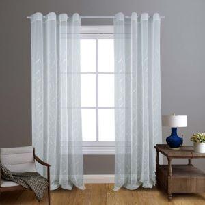Moderne Gardinen mit Blätter Stickerei für Wohnzimmer 2er