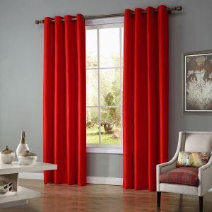Moderne Gardine Uni aus Polyester für Wohnzimmer 2er