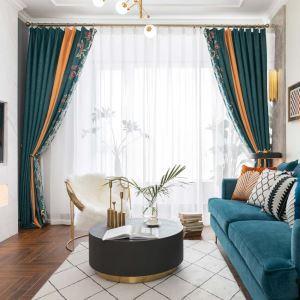 Luxus Vorhang mit Blumen Motiv aus Chenille 2er
