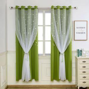 Moderner Vorhang mit transparene Gardine Hohle Sterne Design 1er