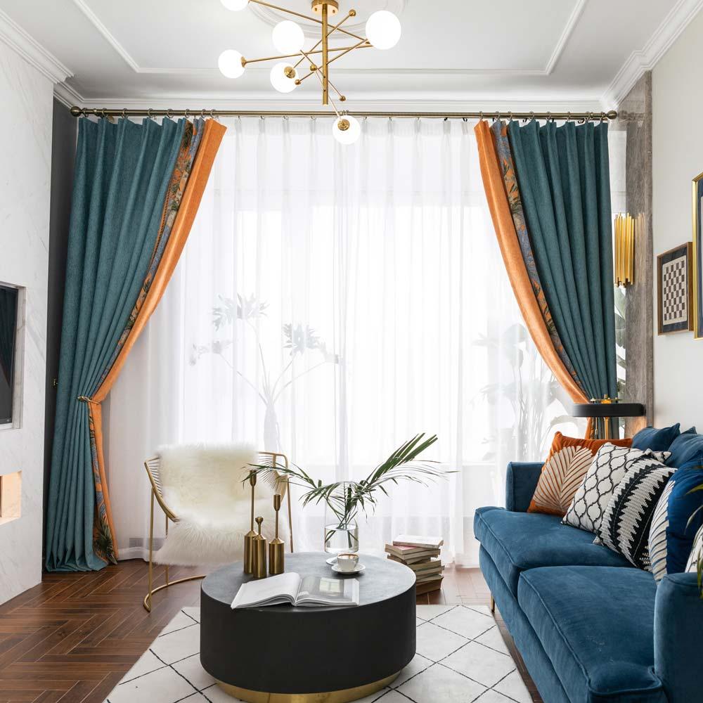 Moderner Vorhang Blumen Motiv aus Chenille für Wohnzimmer 2er