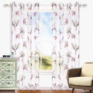 Minimalismus Gardine mit Ibis Motiv für Wohnzimmer 1er