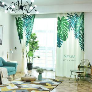 Moderner Vorhang mit Grünen Blätter Stoffdruck für Wohnzimmer 1er