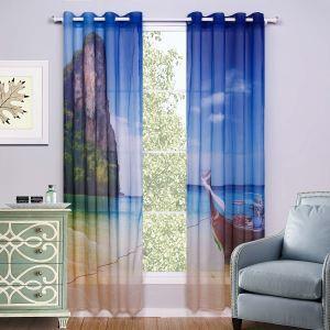 Moderne Gardinen mit Strand Motiv aus Polyester 2-teilig