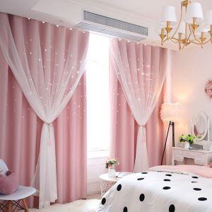 Moderner Vorhang mit transparenter Gardine Hohle Sterne Design Rosa 1er
