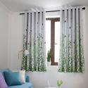 Modern Vorhang mit Blätter Motiv Blickdicht 1er