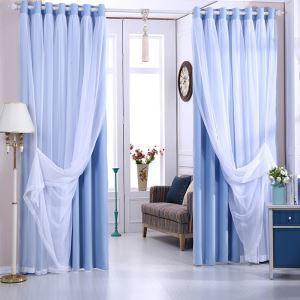 Modern Vorhang mit transparenter Gardine Uni Blickdicht 1er
