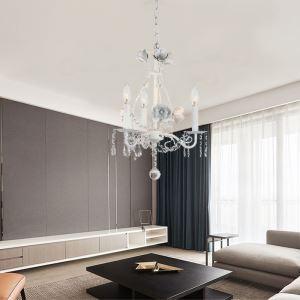 Kronleuchter Kristall Landhaus Stil 3 flammig in Weiß