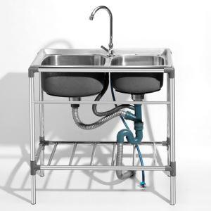 Moderne Küchenspüle Outdoor aus Edelstahl 2 Becken Gebürstet