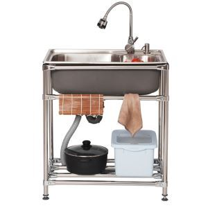Küchenspüle Spülbecken Outdoor Edelstahl mit Handtuchhalter Gebürstet