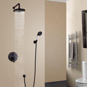 Duschsystem Unterputz Retro Schwarz Wandmontage mit Regenbrause