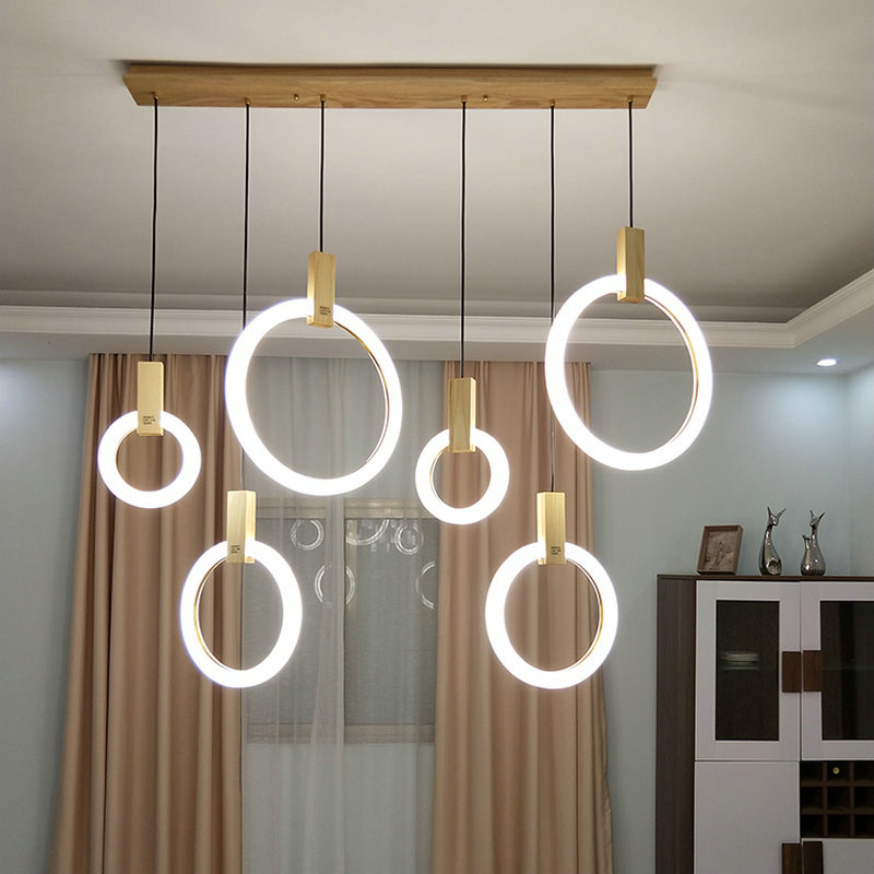 Led Pendelleuchte Modern Ring Design aus Acryl für Schlafzimmer