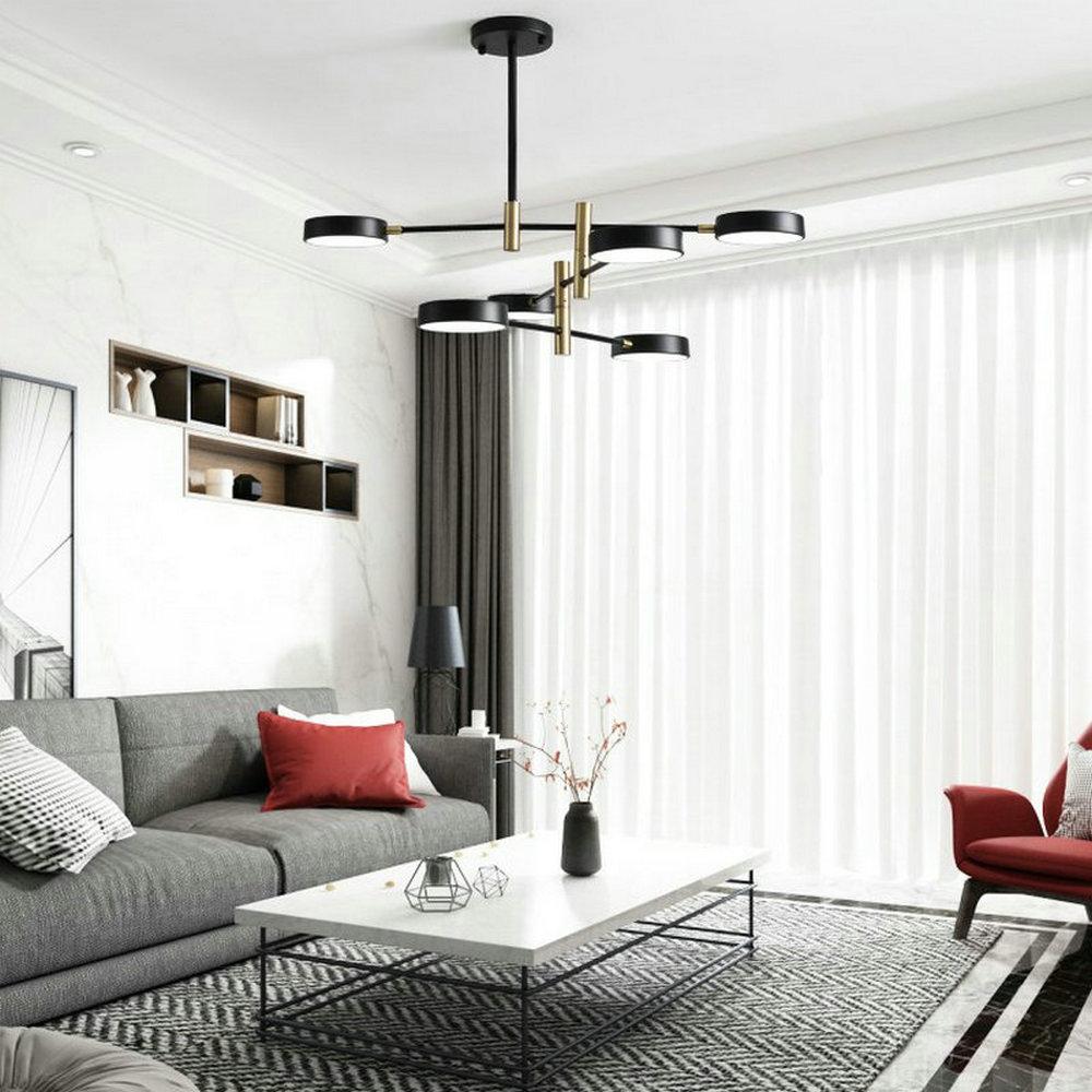 Led Pendelleuchte Modern Kreis Design aus Acryl in Schwarz