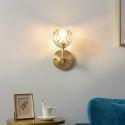 Wandlampe aus Kristall und Kupfer Kugel Design