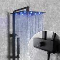 Duschsystem LED Aufputz Schwarz aus Messing mit Kopfbrause von 12 Zoll