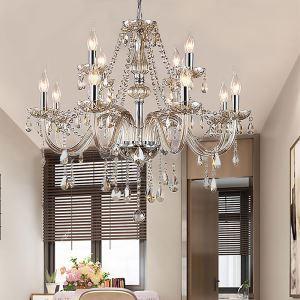 Kristall Kronleuchter Europäischer Stil in Beige Kerzen Design