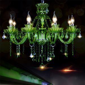 Kristall Kronleuchter Stilvoll Kerzen Design in Grün für Wohnzimmer